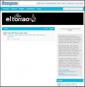 Pepe El Torrao San Juan, un restaurante de la Región de Murcia con página corporativa en Foursquare